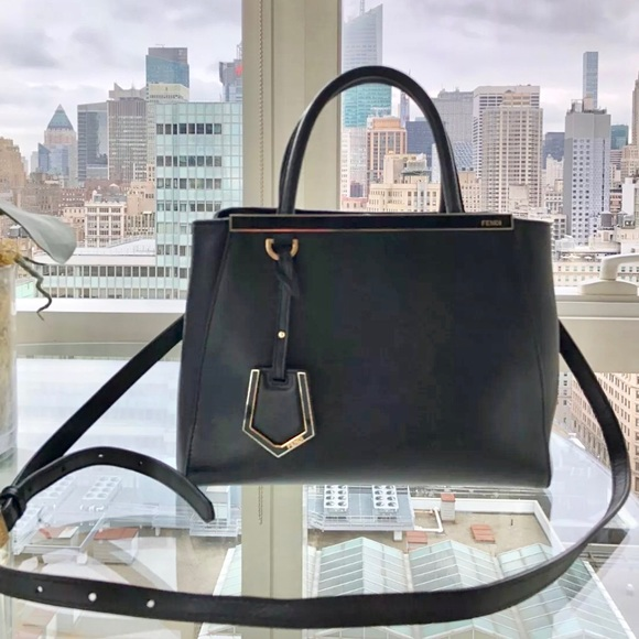 Authentic FENDI 2Jours small textured-leather tote